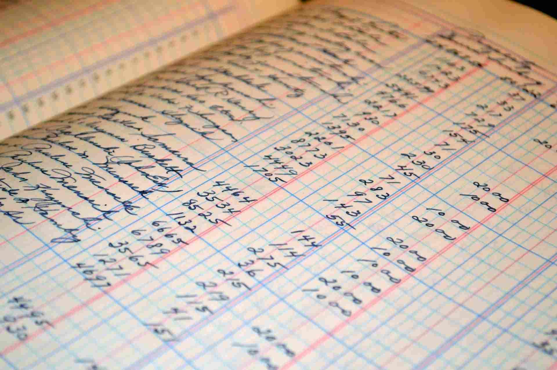 Handwritten Accounting Balance