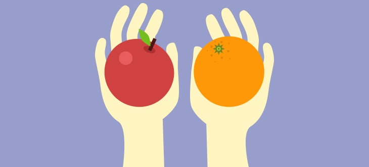 an apple and an orange on both hands
