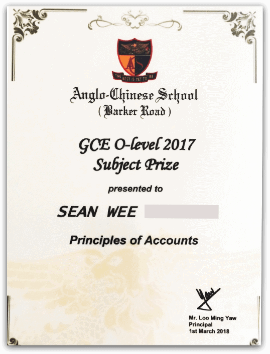 Top Scholar for POA Subject<br/> ACS (Barker Road)<br/>Sean Wee (A1)